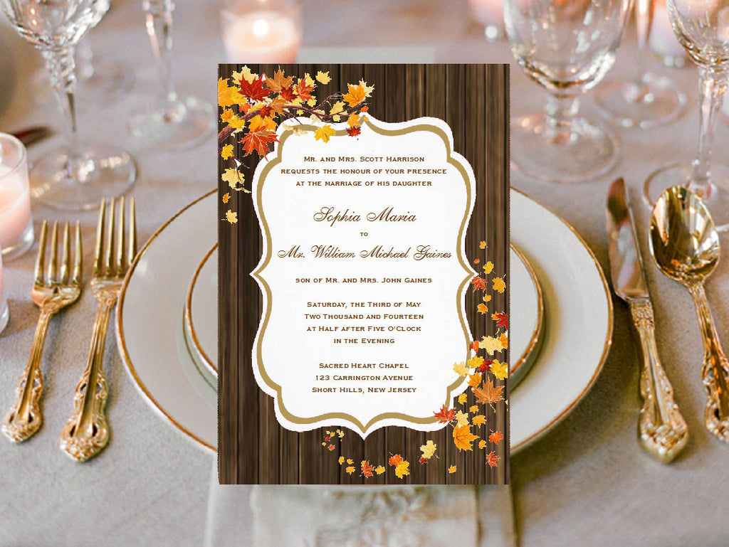 Autumn Fall Burlap Lace Wood Invitations Announcements – Pavia Party ...