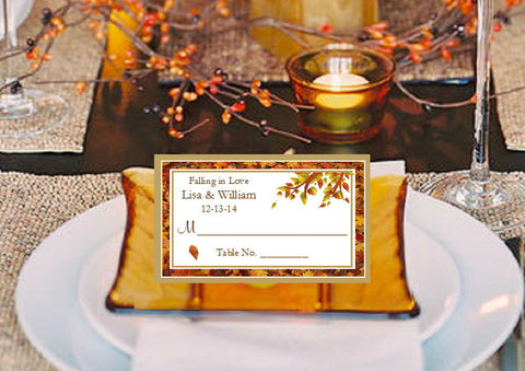 Autumn Fall Leaf Wedding Escort Buffet Place Cards