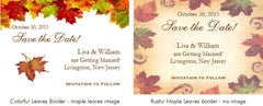 Autumn Fall Leaf Wedding Save the Date Cards Notes