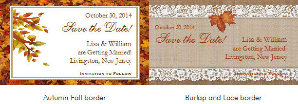 autumn fall leaf wedding vintage save the date magnets pavia party