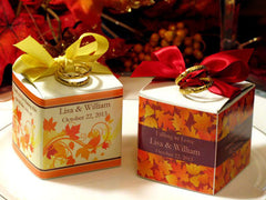 Autumn Fall Wedding DIY Favor Boxes - 2 inch Square
