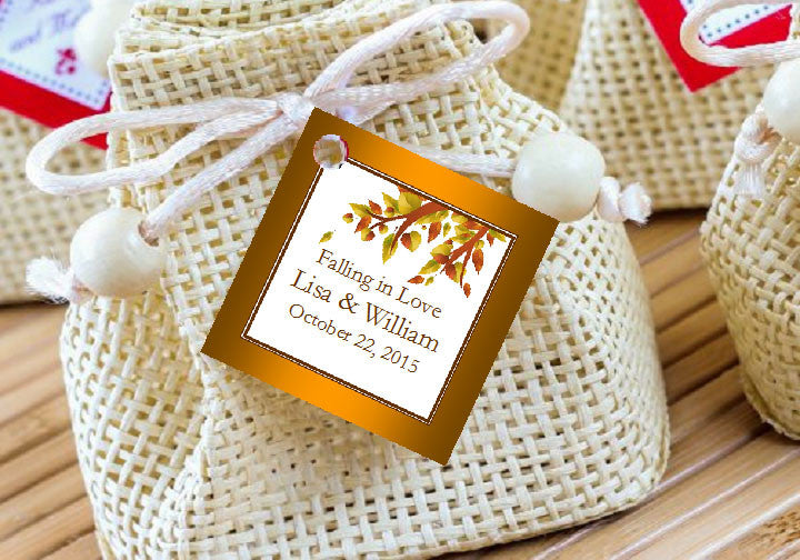 Autumn Fall Leaf Wedding Ideas Favor Gift Tags