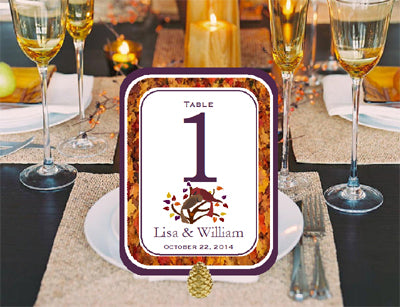 Autumn Fall Leaf Wedding Table Number Cards