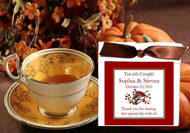 Autumn Fall Leaf Wedding Tea Bag Party