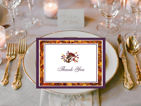 Autumn Fall Leaf Wedding Thank You Cards Notes