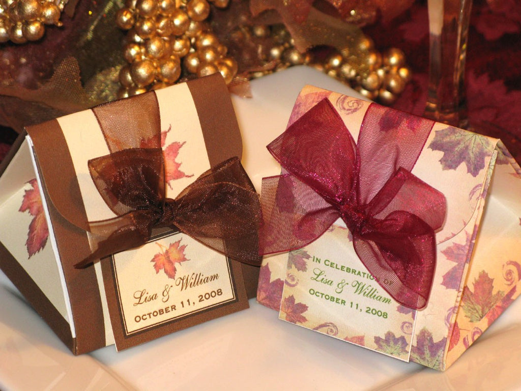 Autumn Fall Leaf  Wedding Origami Favor Boxes with Organza Ribbon