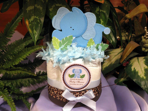 Baby Shower Blue Elephant Jungle Safari Diaper Cake Centerpiece