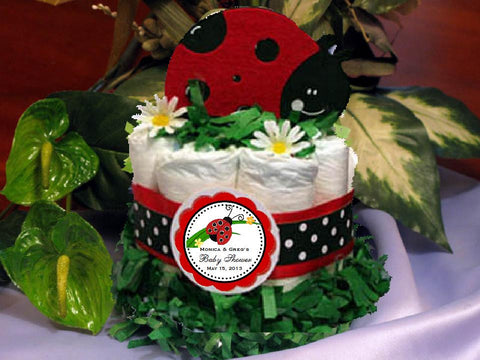 Red Ladybug Baby Shower Diaper Cake Centerpiece