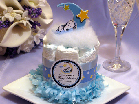 Baby Shower Snoopy Dog Diaper Cake Centerpiece 3 Tiers