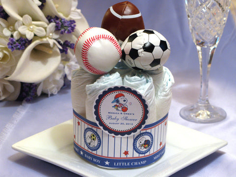 Baby Sporty Snoopy Puppy Dog Diaper Cake Centerpiece