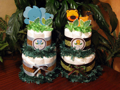Baby Shower Jungle Safari Diaper Cake Centerpieces - Two Tiered - Sturm