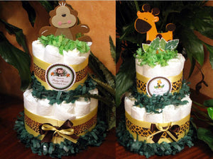 Baby Shower Jungle Safari Diaper Cake Centerpieces - Two Tiered