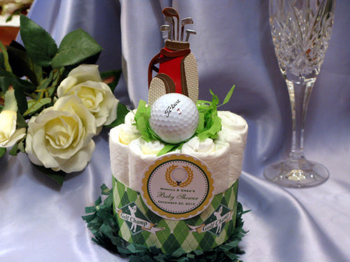 Golf Sports Baby Shower Mini Diaper Cake Centerpiece Gift