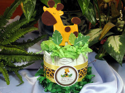 Giggly Baby Giraffe Safari Yellow Diaper Cake Centerpiece