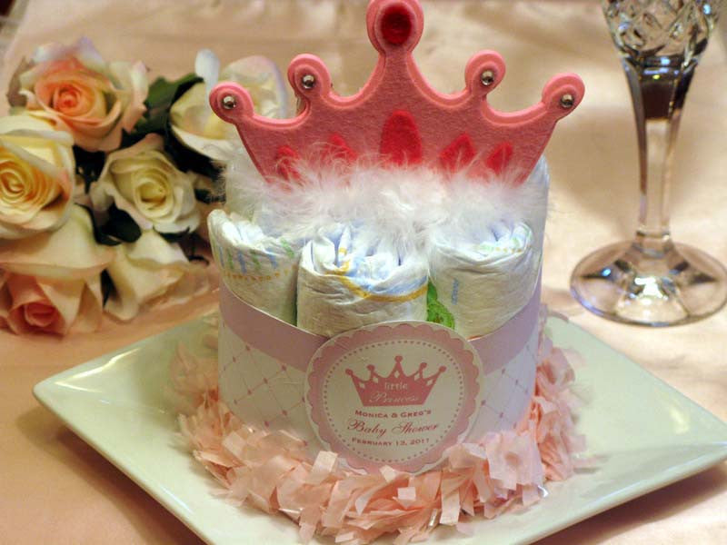 Princess Baby Little Pink Gold Baby Shower Diaper Cake