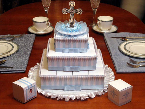 Baptism Christening Stripes 29 Rosary Favor Cake Centerpiece
