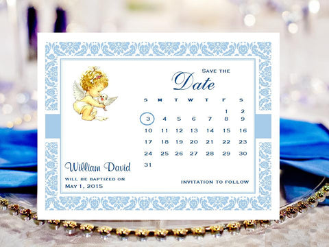 Baptism Christening Photo Save the Date Cards
