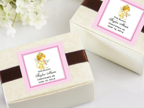 Baptism Christening Gifts Photo Party Square Favor Tags