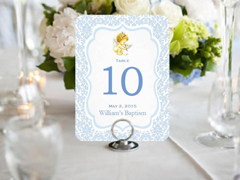 Baptism Christening Photo Table Number Cards