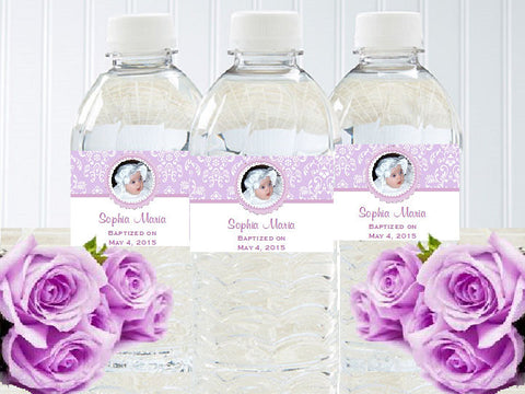 Baptism Christening Photo Water Bottle Labels Stickers