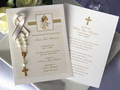 Baptism Christening Photo Remembrance Cards Mini Rosary Favors