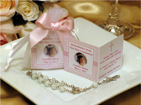 Baptism Christening Mini Rosary Remembrance Card in Organza Bags