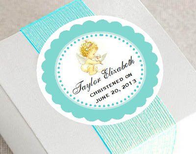 Baptism Christening Photo Round Favor Labels Stickers