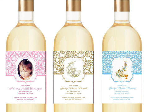 Baptism Christening Wine Bottle Labels Stickers