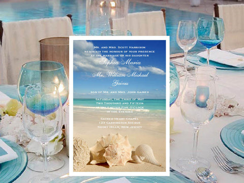 Summer Ocean Beach Wedding Invitations Announcements