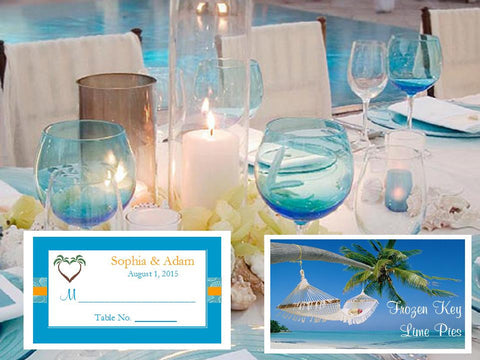 Summer Ocean Beach Wedding Buffet Escort Place Cards