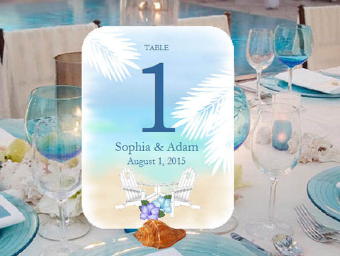 Summer Ocean Beach Tropical Shell Wedding Table Numbers Cards