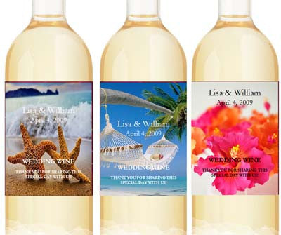 Summer Ocean Beach Wedding Wine Bottle Labels Stickers