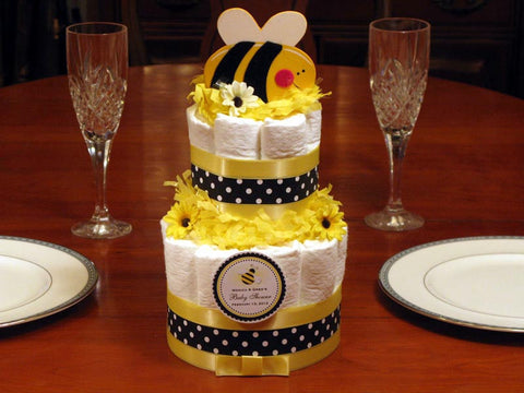 Baby Shower Cute as Can Bee Diaper Cake Centerpiece 2 Tiered