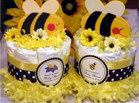 Cute as Can Bumble Bee Baby Shower Diaper Cake Centerpiece