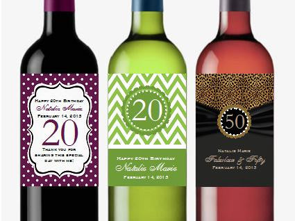 Birthday Party Wine Bottle Labels Stickers