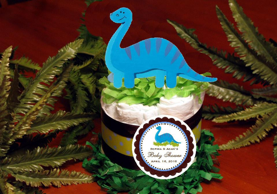 Baby Shower Dinosaur Dino Diaper Cake Centerpiece