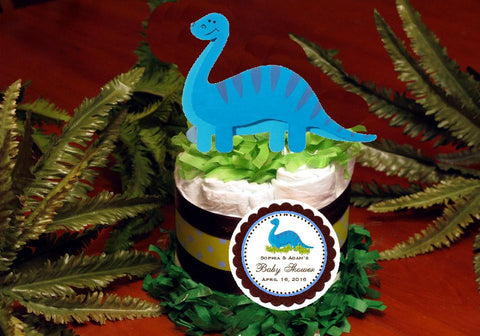 Baby Shower Dinosaur Dino Blue or Green Diaper Cake Centerpiece