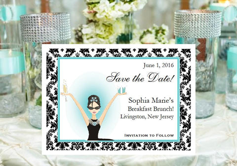 Breakfast at Diva's Classic Save The Date Cards Notes