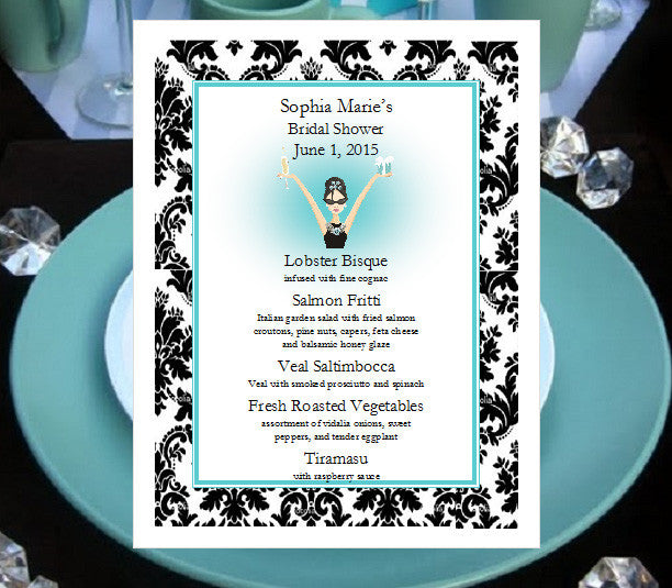 Breakfast at Diva's Bridal Shower Menu Cards