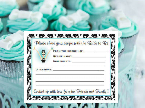 Breakfast at Diva's Bridal Shower Recipe Cards