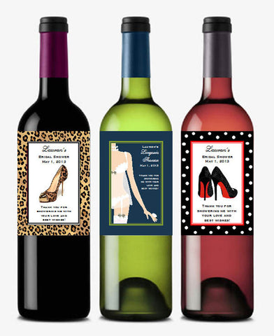 Bridal Shower Girls Night Out Large Wine Bottle Labels Stickers