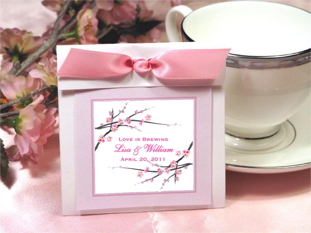 Cherry Blossom Wedding Bridal Tea Bag Party Favors – Pavia Party Favors