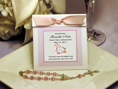 Communion Confirmation Mini Rosary Favors Personalized Wrap