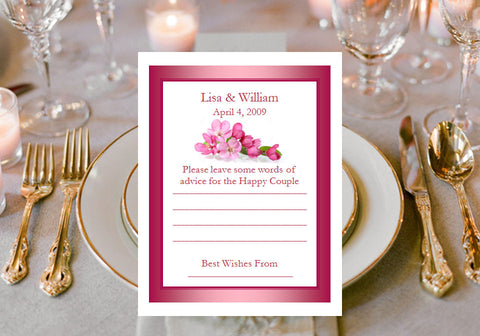 Cherry Blossom Wedding Bridal Baby Advice Wish Cards