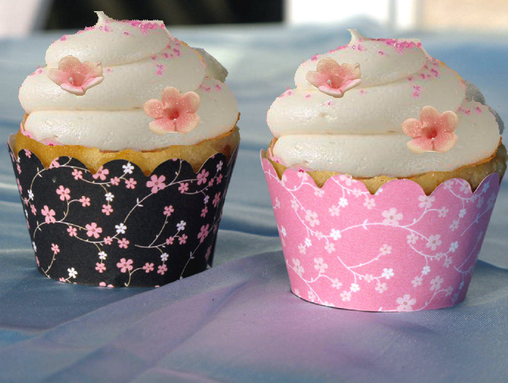 Cherry Blossom Wedding Bridal Baby Shower Cupcake Wrappers Set Of