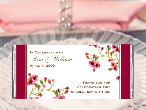 Cherry Blossom Wedding Large Candy Bar Wrapper Favors