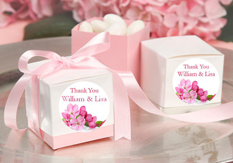 Cherry Blossom Wedding Bridal Round Favor Labels Stickers