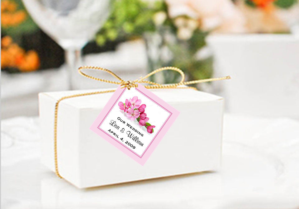Cherry Blossom Wedding Square Favor Gift Tags Pavia Party Favors