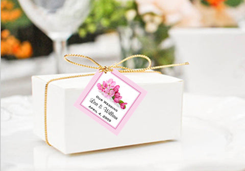 Cherry Blossom Wedding Square Favor Gift Tags
