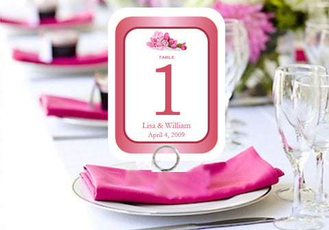 Cherry Blossom Wedding Bridal Table Numbers Cards